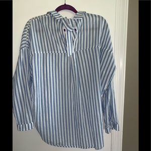 Zara Tops - Zara Oversized Striped Blue Button Down Shirt L